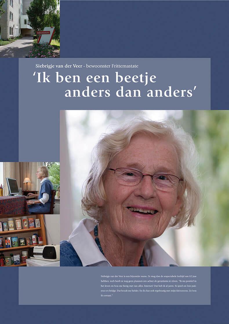 Een bewoonster die nauw contact hield met haar kleinkinderen via internet.